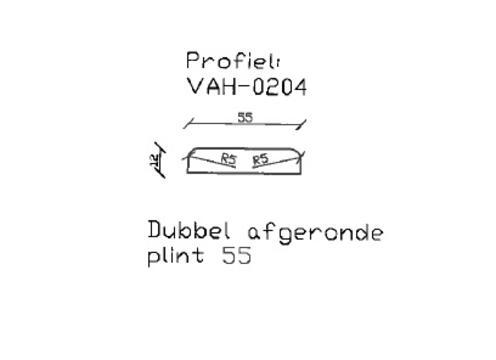 11. VAH-0204 dubbel afgeronde plint 55 mm